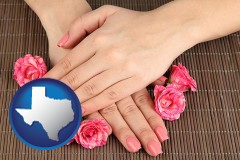 texas a manicure (pink fingernails)