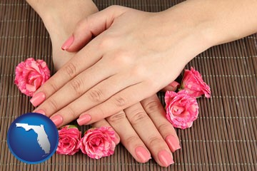a manicure (pink fingernails) - with Florida icon