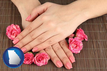 a manicure (pink fingernails) - with Georgia icon