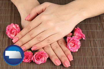 a manicure (pink fingernails) - with Nebraska icon